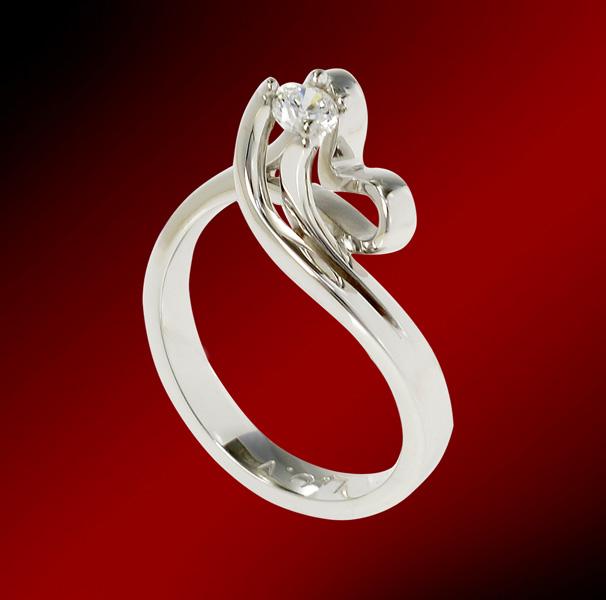 Δαχτυλίδι μονόπετρο από λευκό χρυσό 18 καρατίων. Διαμάντι με κοπή μπριγιάν  βάρους 0 4c63c3df027